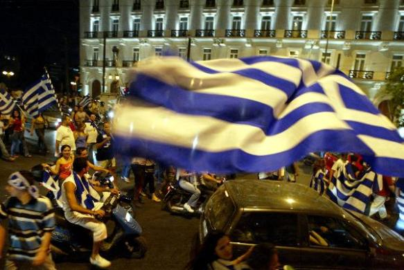 Syntagma Square following the Euro 2004 victory.