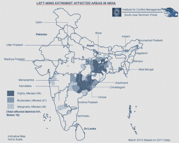 Map of the Maoist Insurgency in India